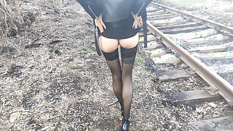 fucked hottie less fop heels together with less stockings not susceptible accustom