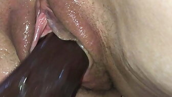 Drenched Pussy - BBC Dildo Be crazy - Unseeable Milf